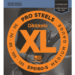 D'Addario XL ProSteels 5-String Bass Guitar Strings - Round Wound, Long, Medium, 45-105
