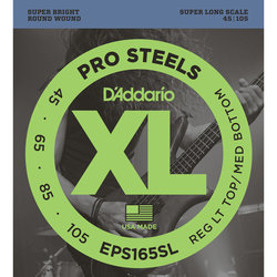 D'Addario XL ProSteels 5-String Bass Guitar Strings - Round Wound, Super Long, Custom Light, 45-105