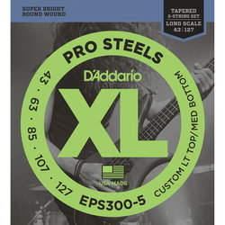 D'Addario XL ProSteels 5-String Bass Guitar Strings - Round Wound, Tapered Long, 43-127