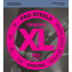 D'Addario XL ProSteels Bass Guitar Strings - Round Wound, Super Long, Light, 45-100