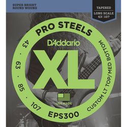 D'Addario XL ProSteels Bass Guitar Strings - Round Wound, Tapered Long, 43-107