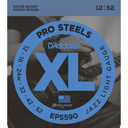 D'Addario XL ProSteels Electric Guitar Strings - Round Wound, Jazz Light, 12-52