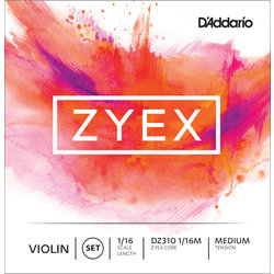 D'Addario Zyex Violin String Set - 1/16 Scale, Medium Tension