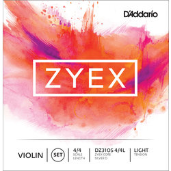 D'Addario Zyex Violin String Set with Silver D - 4/4 Scale, Light Tension