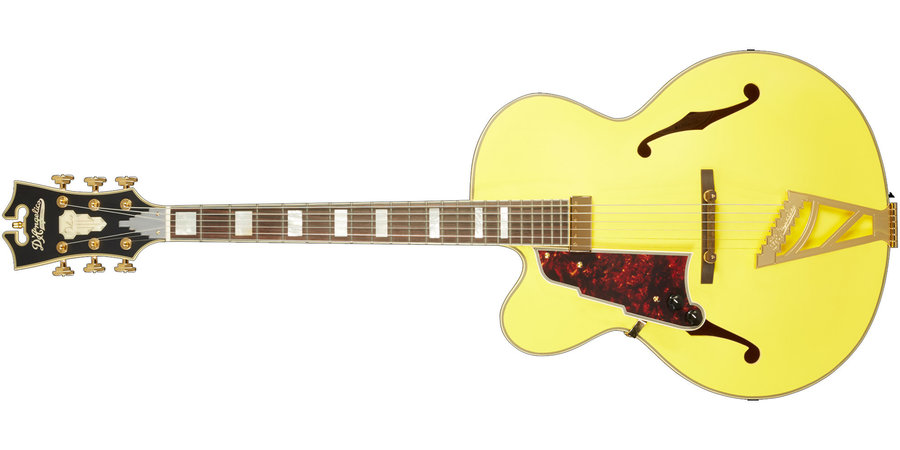 View larger image of D'Angelico Deluxe EXL-1 Electric Guitar - Stairstep, Matte Electric Yellow, Left