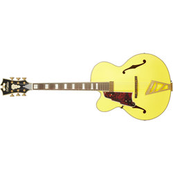 D'Angelico Deluxe EXL-1 Electric Guitar - Stairstep, Matte Electric Yellow, Left