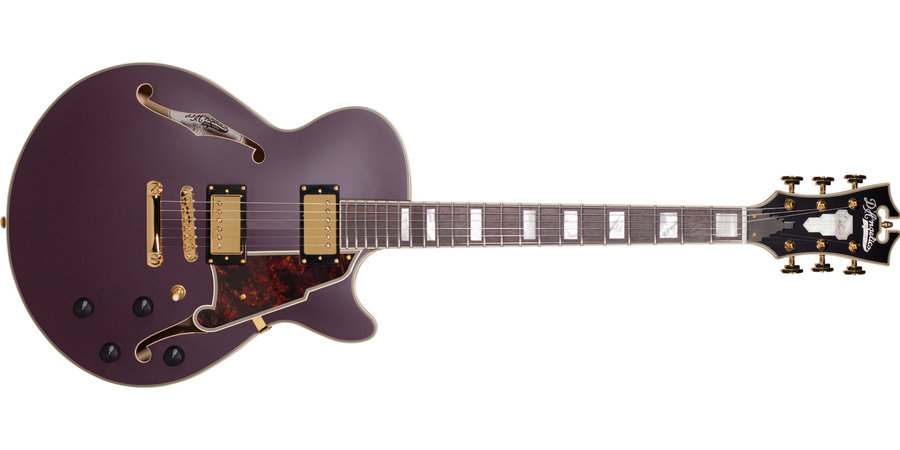 View larger image of D'Angelico Deluxe SS Electric Guitar - Stopbar, Matte Plum