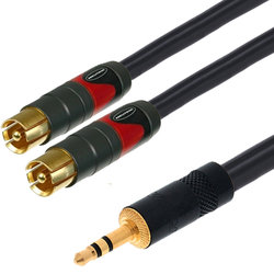 Digiflex Studio Series Insert Cable - 3.5mm TRS to Dual RCA, 50'