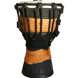 """Toca Synergy Rope Tuned Mini Djembes - 4"""", Brown Black Stain"""