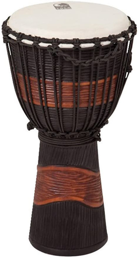 """View larger image of Toca Street Series Carved Djembe - 10"""", Brown/Black"""