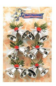 View larger image of Double Bells Ornaments - Silver, 6 Pack