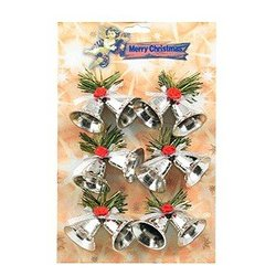 Double Bells Ornaments - Silver, 6 Pack