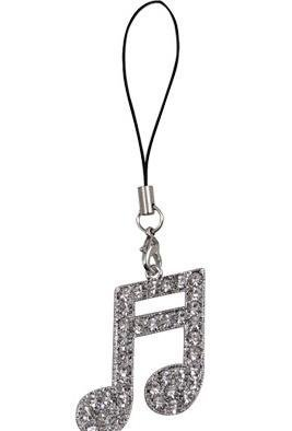 View larger image of Double Note Cell Phone Charm with Rhinestones