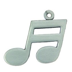 Double Note Music Keychain - Pewter