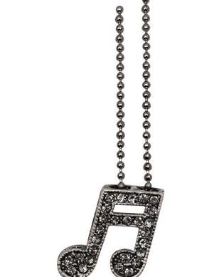View larger image of Double Note Necklace with Crystals - Grey/Pewter