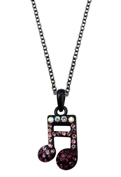 View larger image of Double Note Necklace with Purple Crystals
