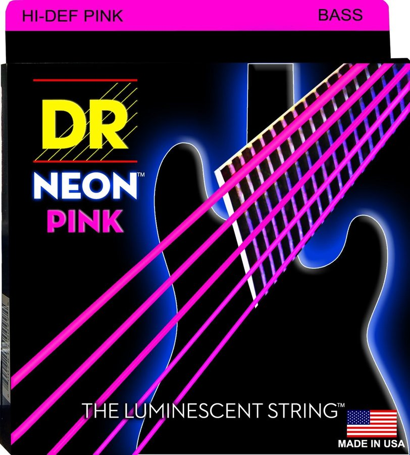 View larger image of DR NPB5-45 HiDef NEON Pink Coated 5-String Bass Guitar Strings