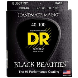 DR Strings BKB-40 Black K3 Coated Bass Strings - Lite, 40-100