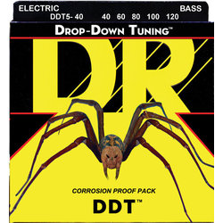DR Strings DDT5-40 Drop Down Tuning 5-String Bass Strings - Lite, 40-120