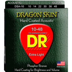 DR Strings DSA-10 DragonSkin Coated Acoustic Strings - Extra Lite, 10-48