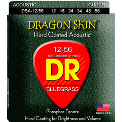 DR Strings DSA-12/56 DragonSkin Coated Acoustic Strings - Bluegrass, 12-56