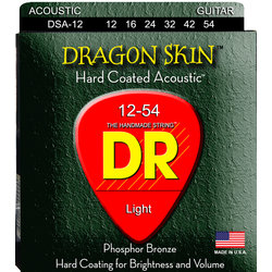 DR Strings DSA-12 DragonSkin Coated Acoustic Strings - Lite, 12-54