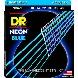 DR Strings NBA-10 NEON Blue Coated Acoustic Strings - Extra-Lite, 10-48