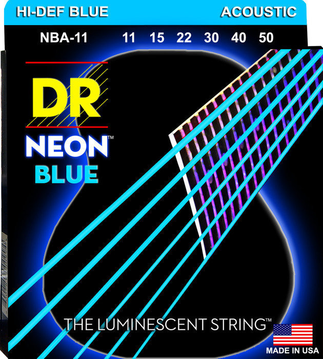 View larger image of DR Strings NBA-11 NEON Blue Coated Acoustic Strings - Custom Lite, 11-50