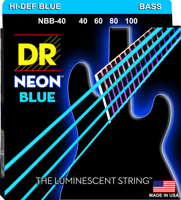 View larger image of DR Strings NBB-40 NEON Blue Bass Strings - Lite, 40-100