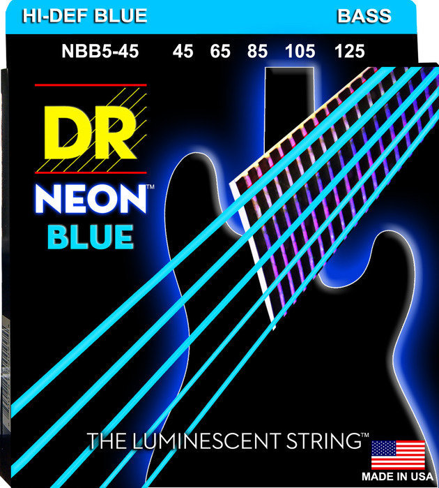 View larger image of DR Strings NBB5-45 NEON Blue 5-String Bass Strings - Medium, 45-125