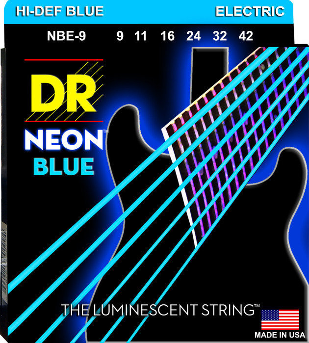 View larger image of DR Strings NBE-9 NEON Blue Electric Strings - Light, 9-42