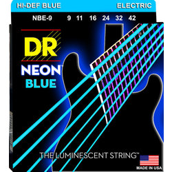 DR Strings NBE-9 NEON Blue Electric Strings - Light, 9-42