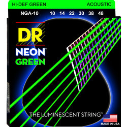 DR Strings NGA-10 NEON Hi-Def Green Coated Acoustic Strings - Extra Light, 10-48