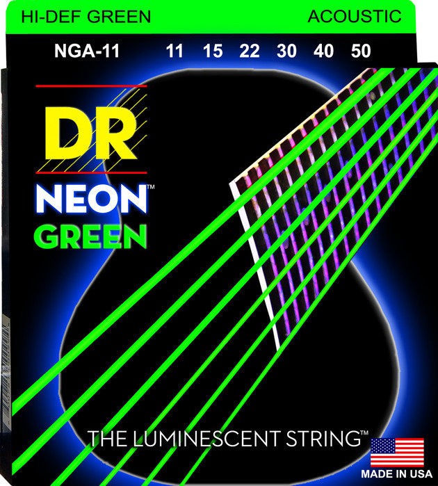 View larger image of DR Strings NGA-11 NEON Hi-Def Green Coated Acoustic Strings - 11-50