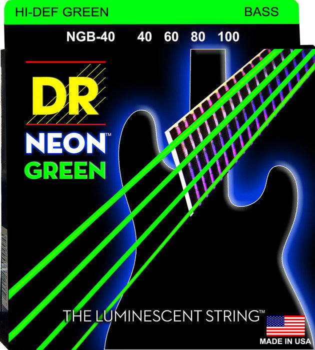 View larger image of DR Strings NGB-40 NEON Hi-Def Green Coated 6-String Bass Strings - Lite, 40-100