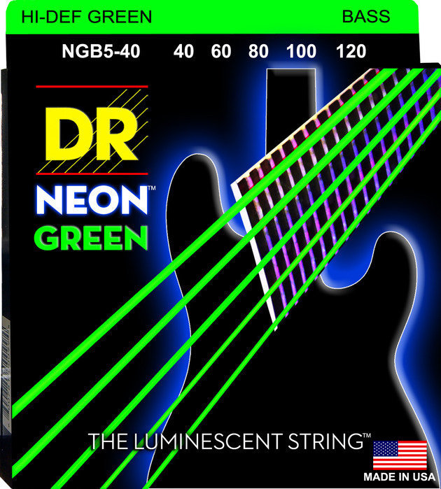View larger image of DR Strings NGB5-40 NEON Hi-Def Green 5-String Bass Strings - Lite, 40-120