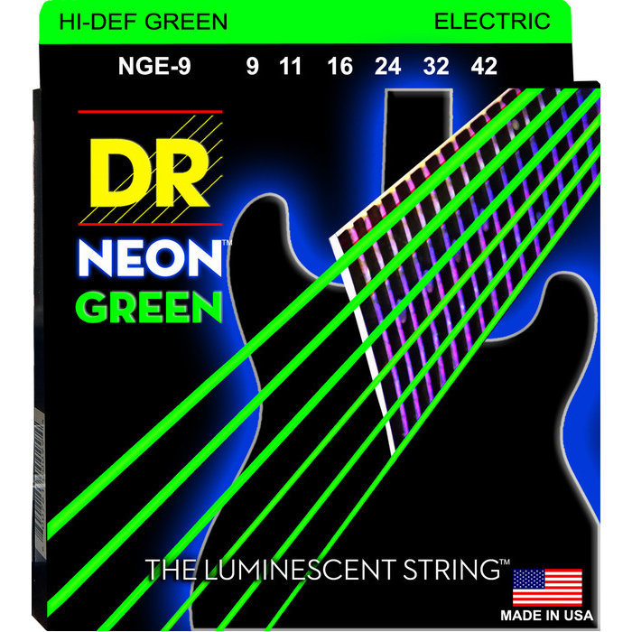 View larger image of DR Strings NGE-9 Neon Green Electric Strings - Light