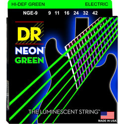 DR Strings NGE-9 Neon Green Electric Strings - Light