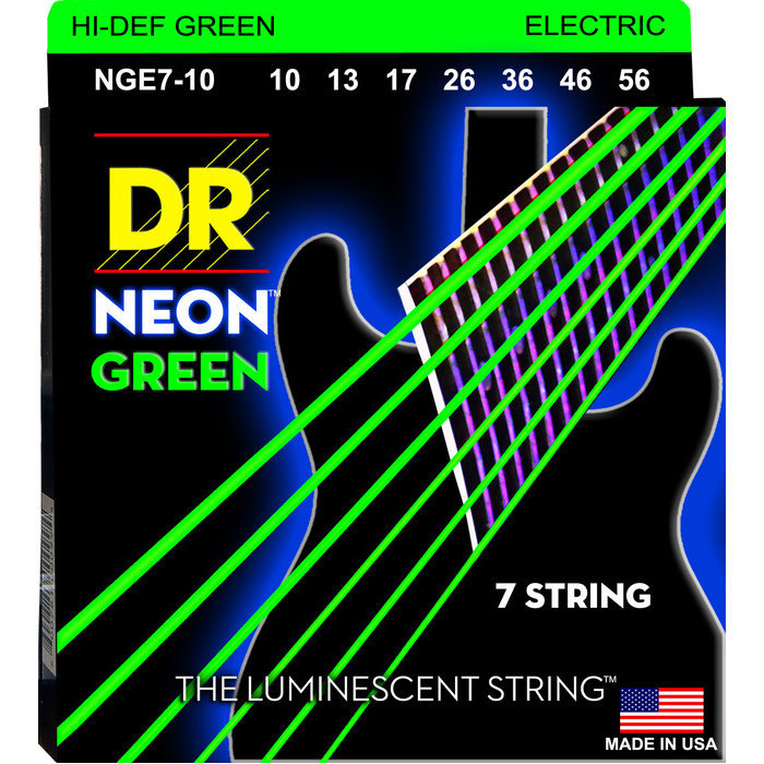 View larger image of DR Strings NGE7-10 Neon Green Electric 7 Strings - Medium