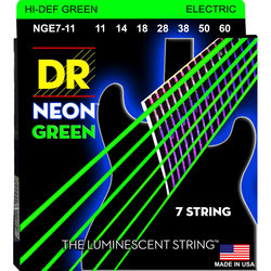 DR Strings NGE7-11 Neon Green Electric 7 Strings - Extra Heavy