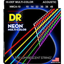 DR Strings NMCA-10 Multi-Color Acoustic Strings - Extra Lite, 10-48