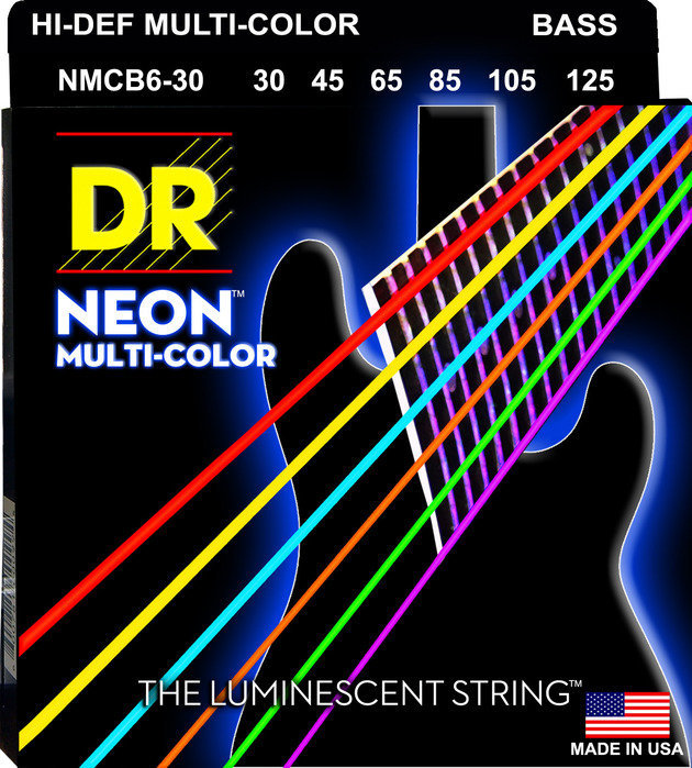 View larger image of DR Strings NMCB6-30 Multi-Color 6-String Bass Strings - Medium, 30-125