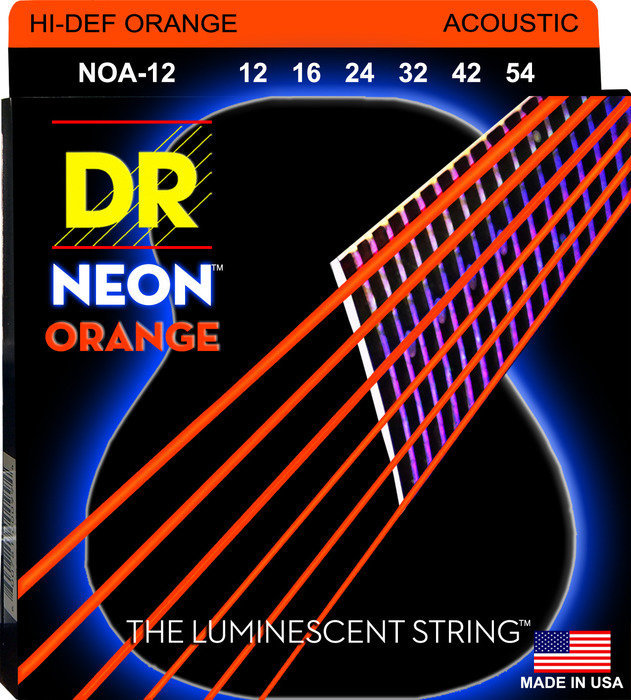 View larger image of DR Strings NOA-12 NEON Hi-Def Orange Coated Acoustic Strings - 12-54