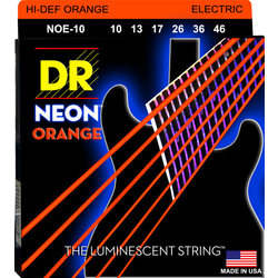 DR Strings NOE-10 NEON Hi-Def Orange Coated Electric Strings - Medium, 10-46