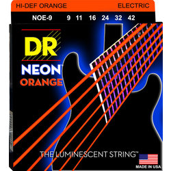 DR Strings NOE-9 NEON Hi-Def Orange Coated Electric Strings - Lite, 9-42