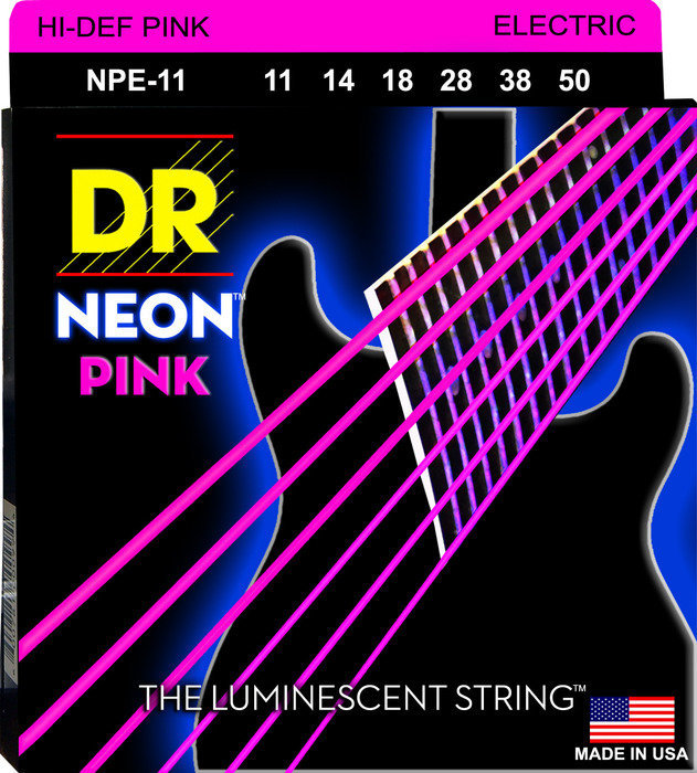 View larger image of DR Strings NPE-11 NEON Hi-Def Pink Coated Electric Strings - Heavy, 11-50