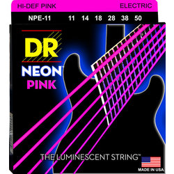 DR Strings NPE-11 NEON Hi-Def Pink Coated Electric Strings - Heavy, 11-50
