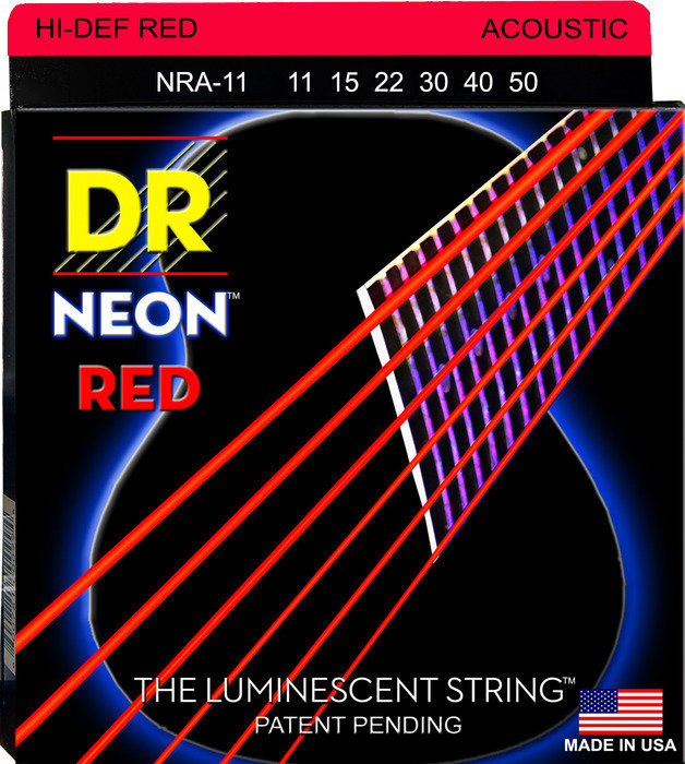View larger image of DR Strings NRA-11 NEON Red Coated Acoustic Strings - Custom Lite, 11-50