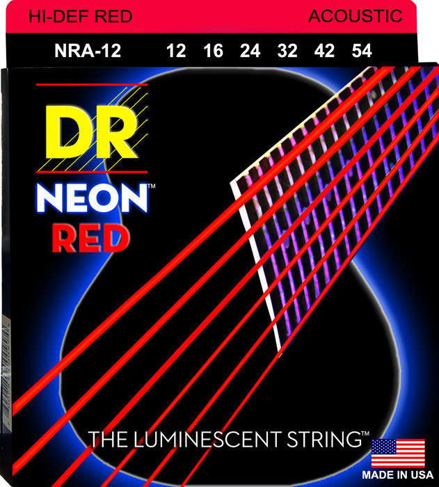 View larger image of DR Strings NRA-12 NEON Red Coated Acoustic Strings - Light, 12-54