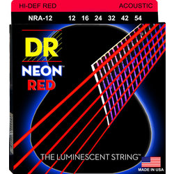 DR Strings NRA-12 NEON Red Coated Acoustic Strings - Light, 12-54